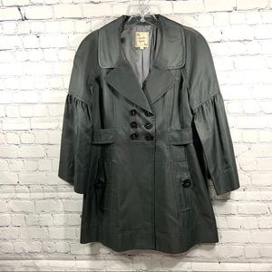Nanette Lepore Charcoal Gray Trench Coat Size 6